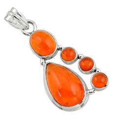 17.50cts natural orange cornelian (carnelian) 925 sterling silver pendant r43113