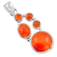16.54cts natural orange cornelian (carnelian) 925 sterling silver pendant r43114