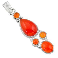 16.61cts natural orange cornelian (carnelian) 925 sterling silver pendant r43115