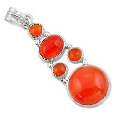 16.74cts natural orange cornelian (carnelian) 925 sterling silver pendant r43116