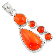 17.21cts natural orange cornelian (carnelian) 925 sterling silver pendant r43117
