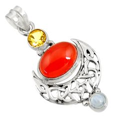 8.27cts natural orange cornelian (carnelian) moonstone 925 silver pendant d43658