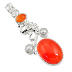 16.38cts natural orange cornelian (carnelian) pearl silver fish pendant d43659
