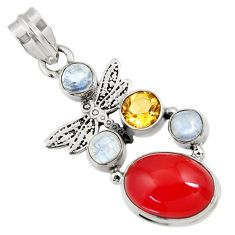Clearance Sale- 10.33cts natural orange cornelian (carnelian) silver dragonfly pendant d43661