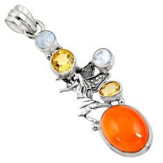 10.89cts natural orange cornelian 925 silver angel wings fairy pendant d43668