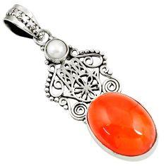 Clearance Sale- 14.08cts natural orange cornelian 925 silver hand of god hamsa pendant d39463