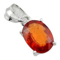 5.15cts natural orange hessonite garnet 925 sterling silver pendant r43361
