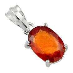 5.37cts natural orange hessonite garnet 925 sterling silver pendant r43362