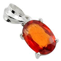 4.91cts natural orange hessonite garnet 925 sterling silver pendant r43363