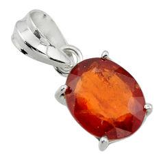 5.26cts natural orange hessonite garnet 925 sterling silver pendant r43365