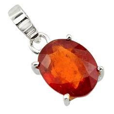 5.15cts natural orange hessonite garnet 925 sterling silver pendant r43367
