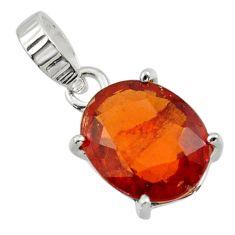 5.49cts natural orange hessonite garnet 925 sterling silver pendant r43368