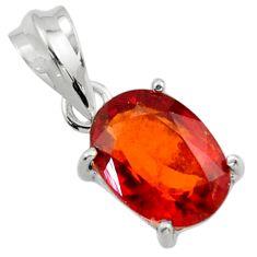 5.47cts natural orange hessonite garnet 925 sterling silver pendant r43370