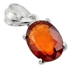 4.93cts natural orange hessonite garnet 925 sterling silver pendant r43371