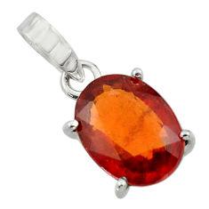 4.91cts natural orange hessonite garnet 925 sterling silver pendant r43372