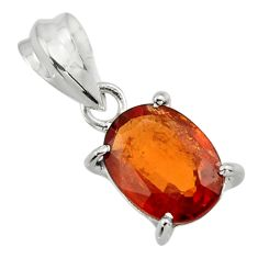 5.02cts natural orange hessonite garnet 925 sterling silver pendant r43373