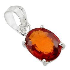 4.90cts natural orange hessonite garnet 925 sterling silver pendant r43374