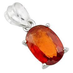 4.88cts natural orange hessonite garnet 925 sterling silver pendant r43375