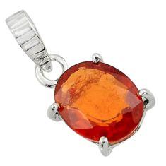 4.91cts natural orange hessonite garnet 925 sterling silver pendant r43376