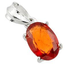 5.05cts natural orange hessonite garnet 925 sterling silver pendant r43377