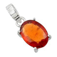 4.81cts natural orange hessonite garnet 925 sterling silver pendant r43378