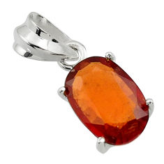 5.17cts natural orange hessonite garnet 925 sterling silver pendant r43380