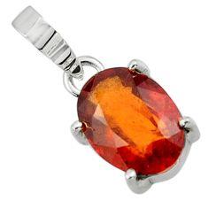 4.75cts natural orange hessonite garnet 925 sterling silver pendant r43382