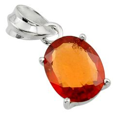 4.73cts natural orange hessonite garnet 925 sterling silver pendant r43383
