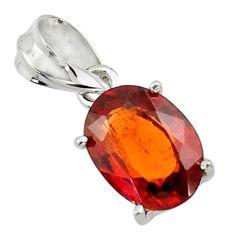 5.25cts natural orange hessonite garnet 925 sterling silver pendant r43385