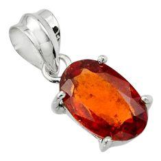 5.06cts natural orange hessonite garnet 925 sterling silver pendant r43387