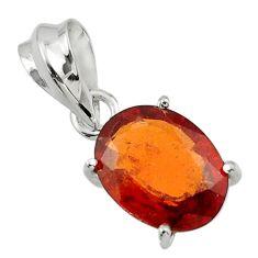 4.81cts natural orange hessonite garnet 925 sterling silver pendant r43388