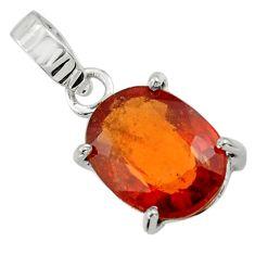 4.86cts natural orange hessonite garnet 925 sterling silver pendant r43389