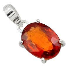 5.20cts natural orange hessonite garnet 925 sterling silver pendant r43391