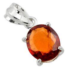 4.91cts natural orange hessonite garnet 925 sterling silver pendant r43397