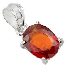 5.07cts natural orange hessonite garnet 925 sterling silver pendant r43398