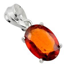 5.81cts natural orange hessonite garnet 925 sterling silver pendant r43399
