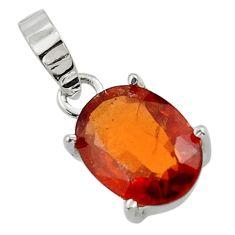 4.79cts natural orange hessonite garnet 925 sterling silver pendant r43400
