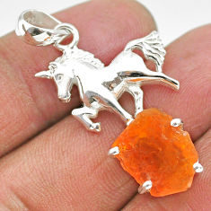 5.62cts natural orange mexican fire opal 925 silver horse pendant r91481