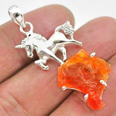 7.36cts natural orange mexican fire opal 925 silver horse pendant r91482