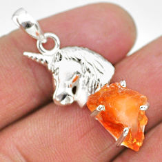 5.84cts natural orange mexican fire opal 925 silver horse pendant r91483