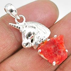 5.32cts natural orange mexican fire opal 925 silver horse pendant r91485