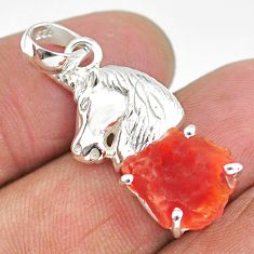 5.58cts natural orange mexican fire opal 925 silver horse pendant r91513