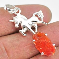 6.07cts natural orange mexican fire opal 925 silver horse pendant r91515