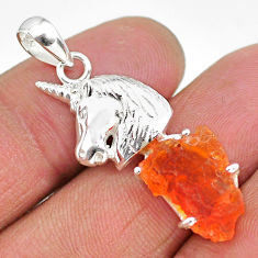 5.50cts natural orange mexican fire opal 925 silver horse pendant r91516