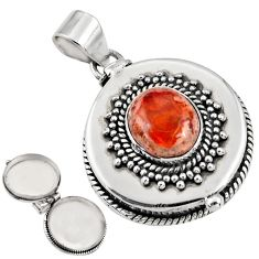 4.74cts natural orange mexican fire opal 925 silver poison box pendant r30627