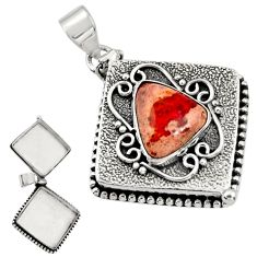 6.24cts natural orange mexican fire opal 925 silver poison box pendant r30636