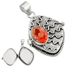 5.84cts natural orange mexican fire opal 925 silver poison box pendant r30675
