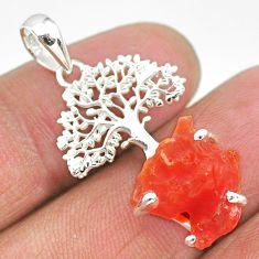 8.69cts natural orange mexican fire opal 925 silver tree of life pendant r91491