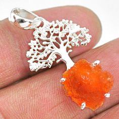 7.63cts natural orange mexican fire opal 925 silver tree of life pendant r91493