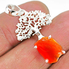 5.53cts natural orange mexican fire opal 925 silver tree of life pendant r91495